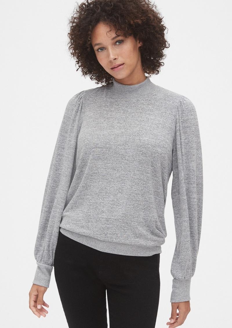 Gap Softspun Mockneck Puff-Sleeve Top