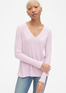 Gap Softspun Ribbed Long Sleeve V-Neck T-Shirt