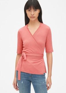 Gap Softspun Short Sleeve Tie-Waist Wrap Top