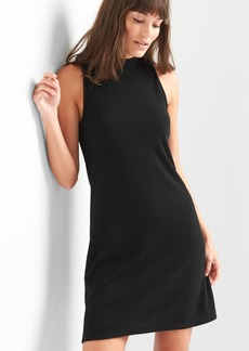 Softspun sleeveless mockneck mini swing dress