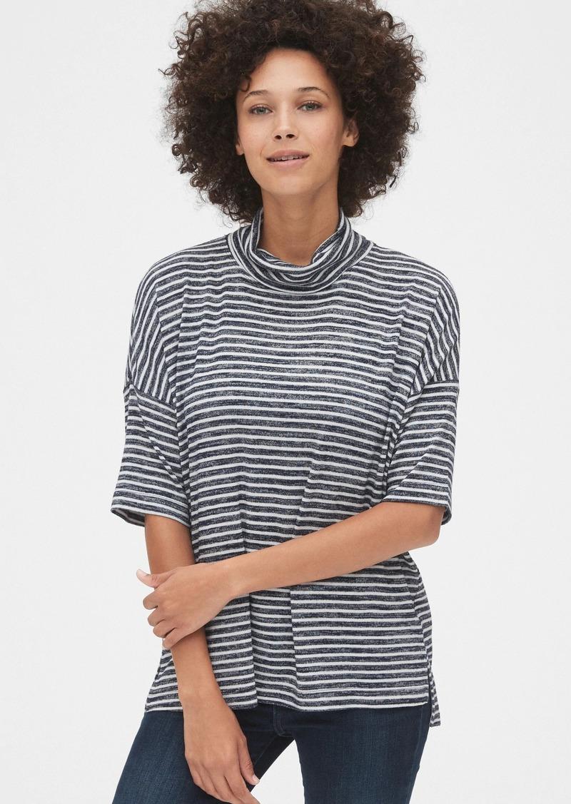 Gap Softspun Stripe Elbow-Sleeve Turtleneck Top