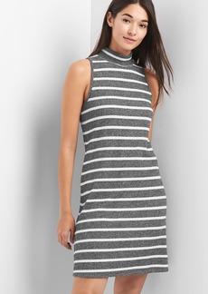 Softspun stripe sleeveless mockneck dress