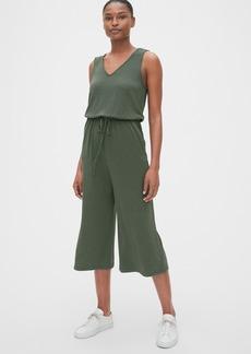 Gap Softspun V-Neck Wide-Leg Crop Jumpsuit