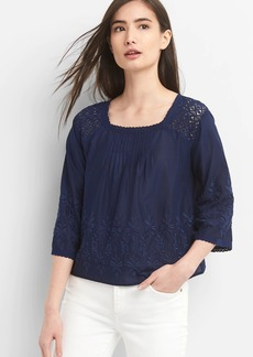 Gap Square Neck Blouse with Crochet and Embroidery
