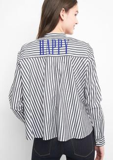 Stripe band collar shirt