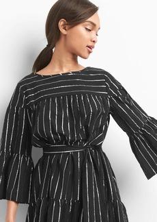 Stripe bell-sleeve tier dress