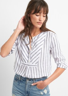 Gap Stripe Bib-Front Shirt in Linen