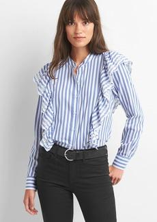 Gap Stripe eyelet cascade ruffle shirt