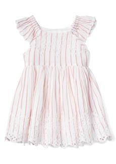 Gap Stripe eyelet flutter dress