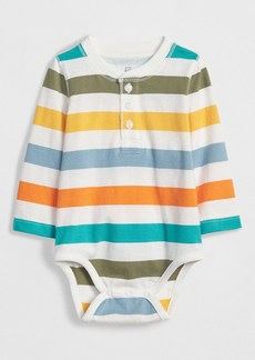 Gap Stripe Henley Long Sleeve Bodysuit