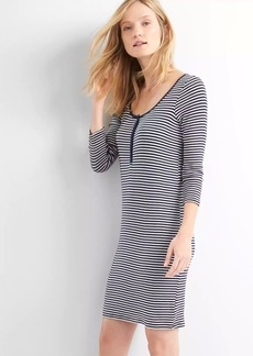 Stripe henley mini shirtdress