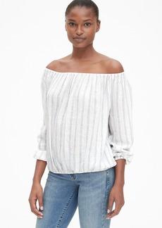 Gap Stripe Off-Shoulder Top in Linen