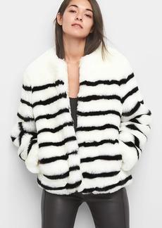 Stripe oversize faux-fur coat