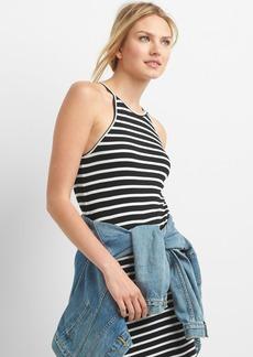 Stripe rib-knit halter dress
