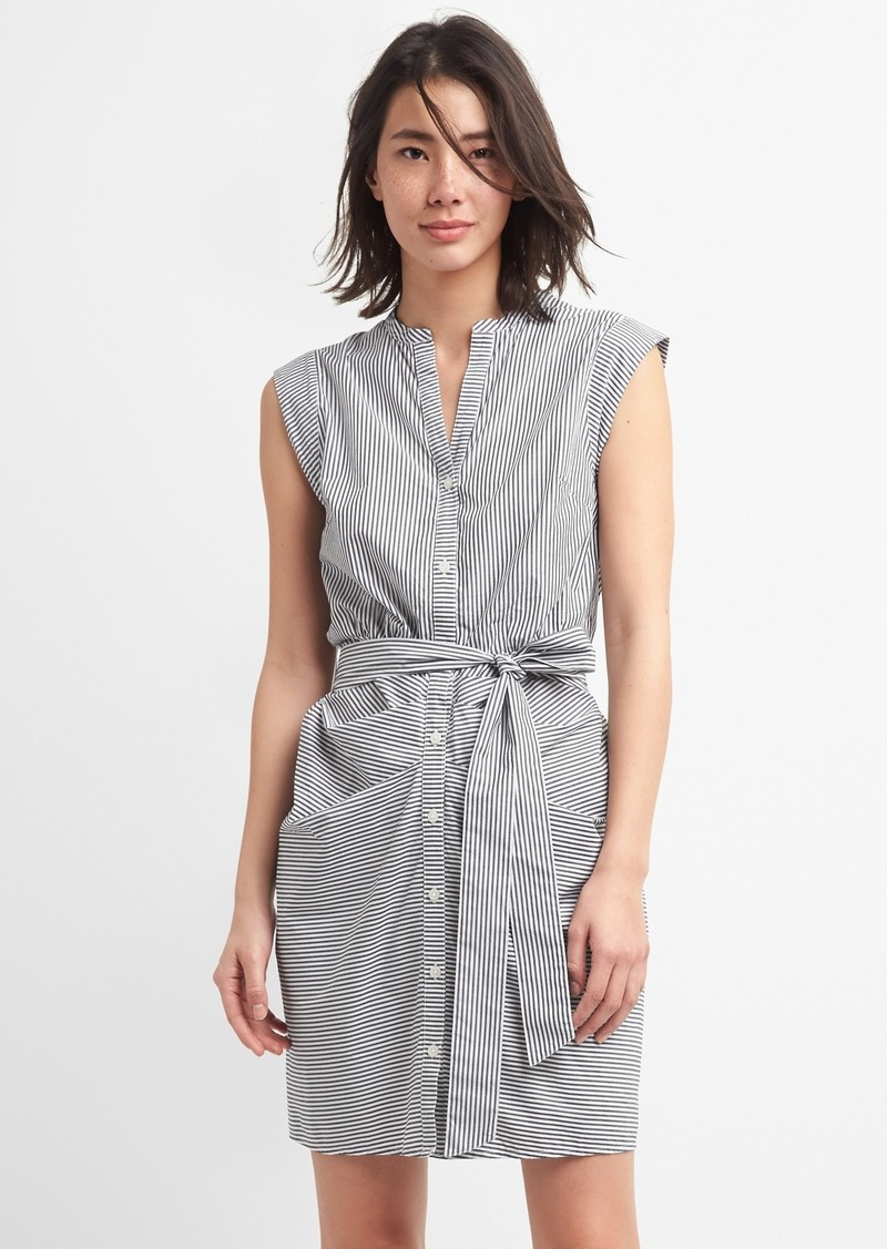 Gap Stripe Ruched Shirtdress In Poplin Dresses