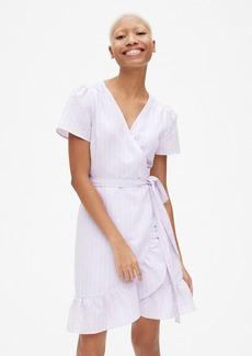 Gap Stripe Ruffle Wrap Dress in Linen-Cotton