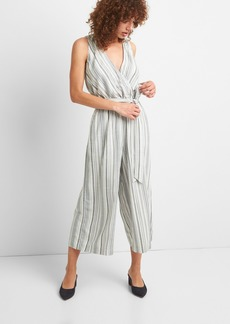 Gap Stripe Sleeveless Wrap Jumpsuit