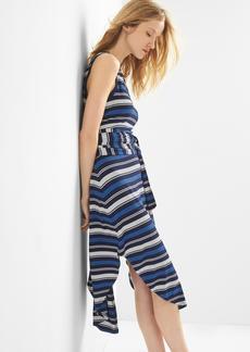 Stripe wrap-belt midi dress