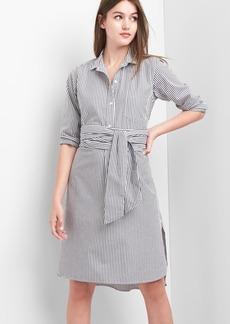 Stripe wrap-belt shirtdress