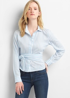 Gap Stripe wrap-tie crop shirt