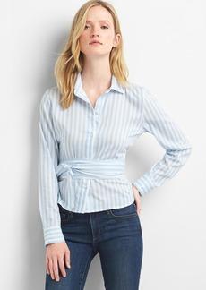 Gap Stripe wrap-tie crop shirt