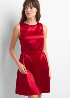Structured satin fit and flare dress
