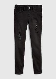 Gap Superdenim Destructed Sequin Super Skinny Jeans with Fantastiflex