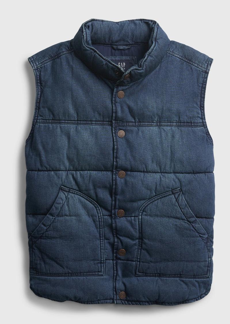 Gap Teen Organic Denim Puffer Vest