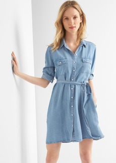 TENCEL&#153 denim tie-belt shirtdress