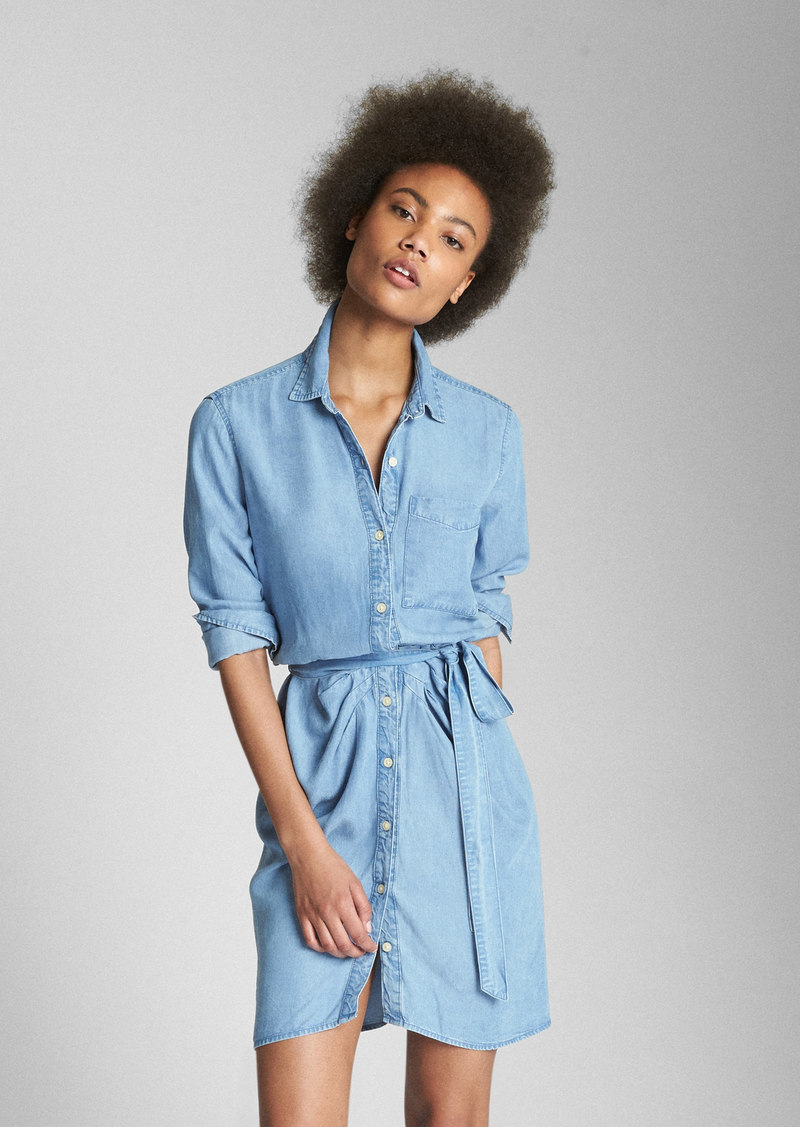 Gap Tencel153 Long Sleeve Ruched Shirtdress Dresses