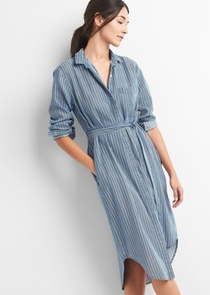 TENCEL&#153 Stripe Tie-Waist Midi Shirt Dress