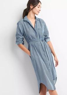 TENCEL&#153 Stripe Tie-Waist Midi Shirt Dress
