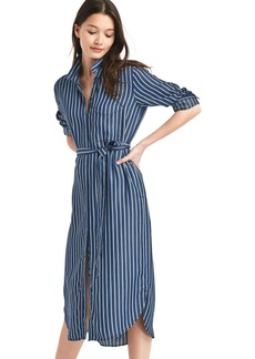 Tencel&#174 stripe midi shirtdress