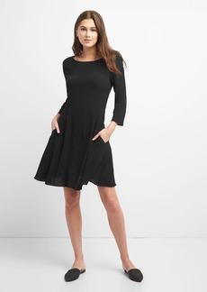Three-Quarter Length Sleeve Fit and Flare Dress in Crepe