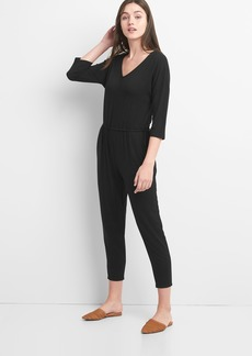 Three-Quarter Length Sleeve Tie-Waist Jumpsuit