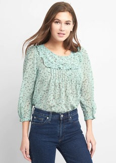 Gap Three-Quarter Sleeve Pintuck Blouse in Print Chiffon