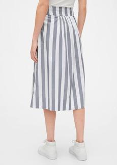Gap Tie-Belt Button-Front Stripe Midi Skirt