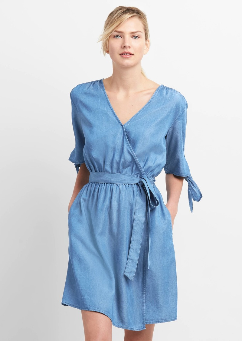 Gap Tie-Sleeve Wrap Dress in TENCEL&#153 | Dresses