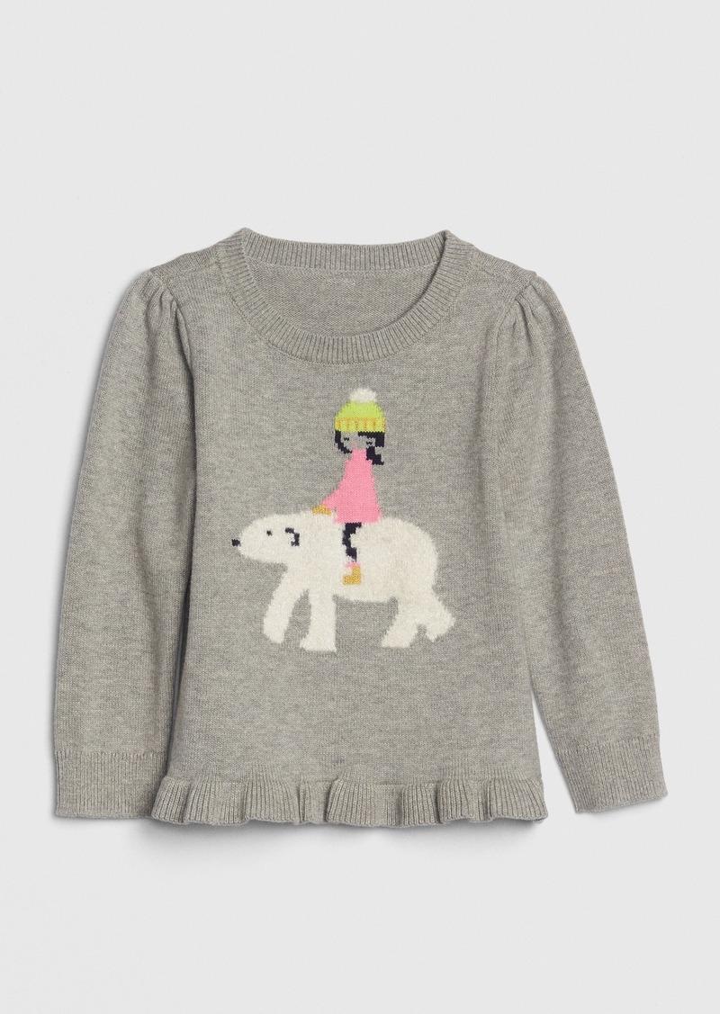 Gap Toddler Fuzzy Graphic Peplum Sweater