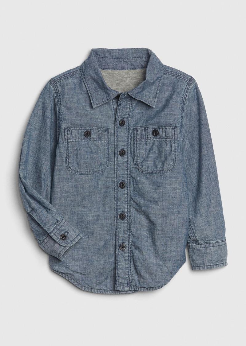 Gap Toddler Jersey-Lined Chambray Shirt