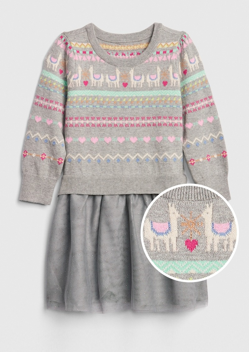 Gap Toddler Llama Mix-Media Dress