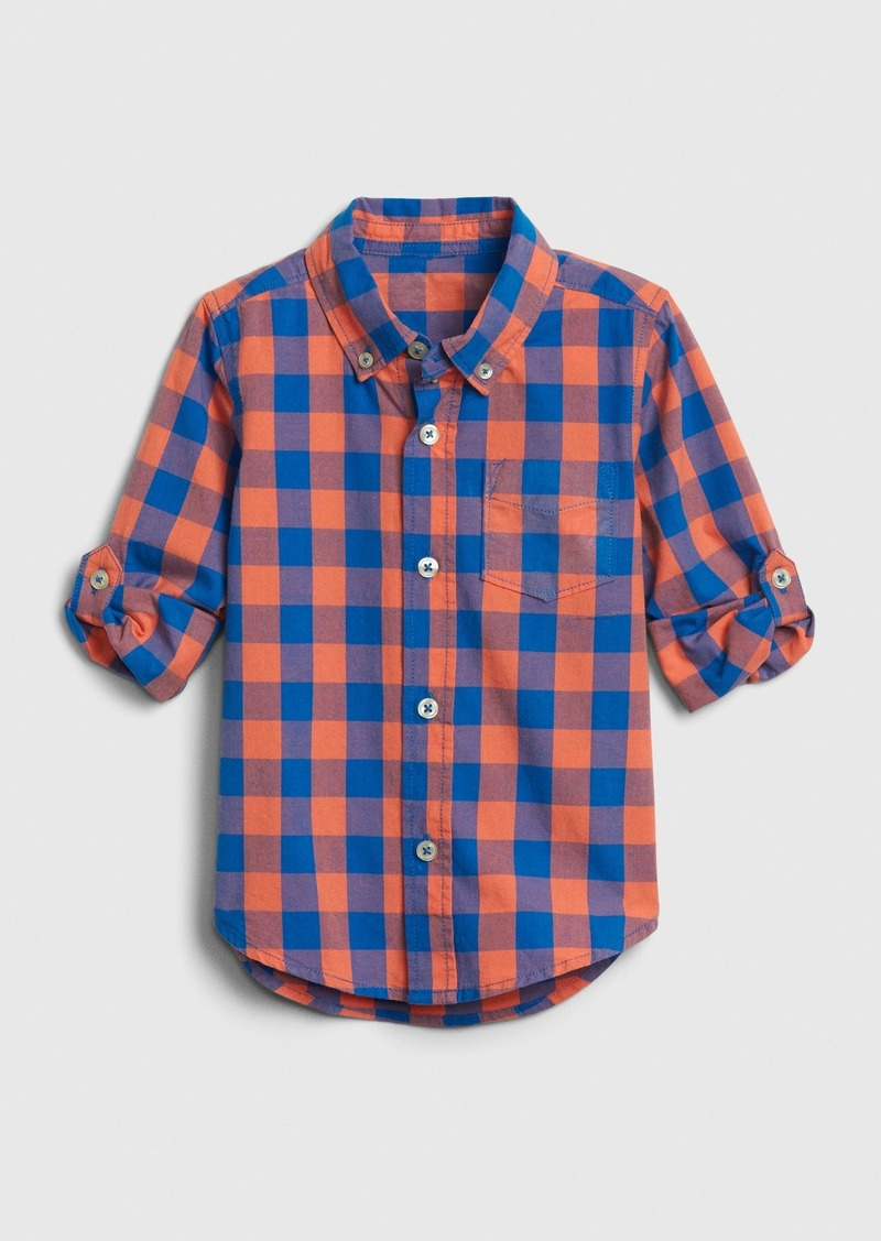 Gap Toddler Poplin Plaid Convertible Shirt