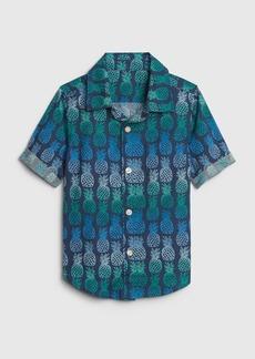 Gap Toddler Print Short Sleeve Poplin Shirt