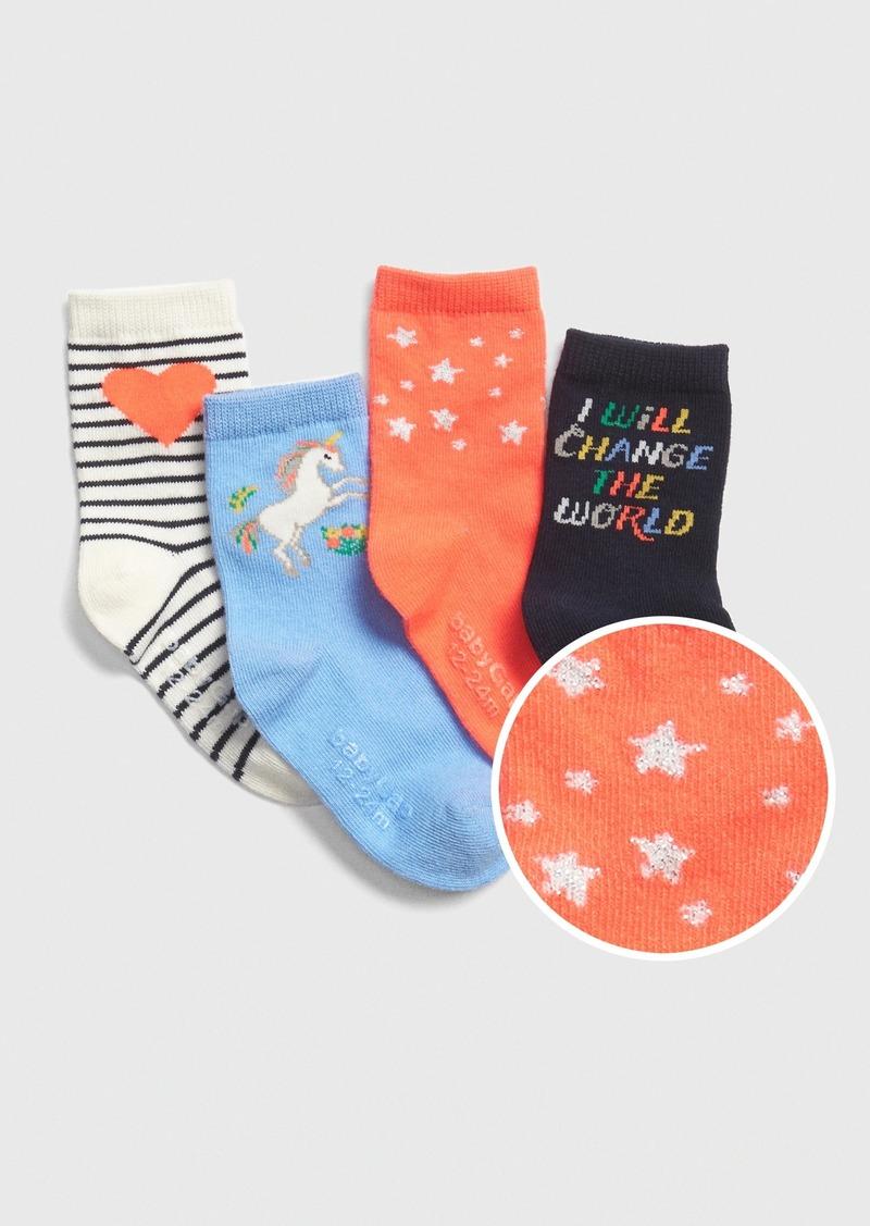 Gap Toddler Unicorn Crew Socks (4-Pack)