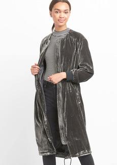 Velvet midi bomber jacket