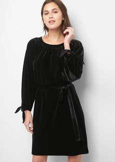 Velvet tie-sleeve scoopneck dress