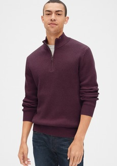 Gap Waffle Stitch Quarter-Zip Mockneck Sweater
