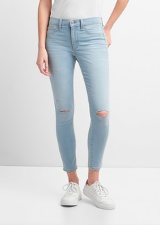 Gap Washwell Mid Rise Favorite Ankle Jeggings with Destruction