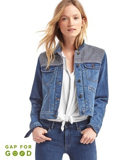 Washwell railroad stripe short denim jacket