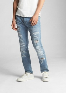 Wearlight Destructed Jeans in Skinny Fit with GapFlex